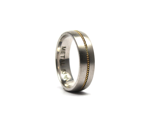9ct white and yellow band