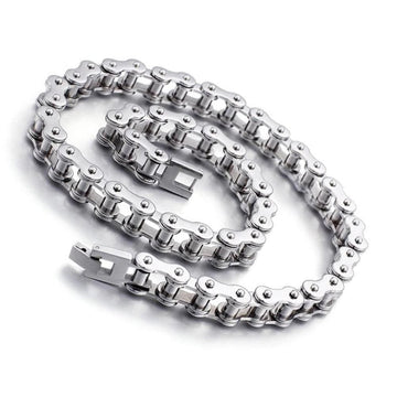 Stainless Steel Bike-Chain Necklace/Bracelet - Vehicles accessories, car-enthusiast gifts, car interior & safety Gadgets