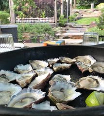 FODMAP recipe. Fresh oysters on platter with NOGO dipping sauces