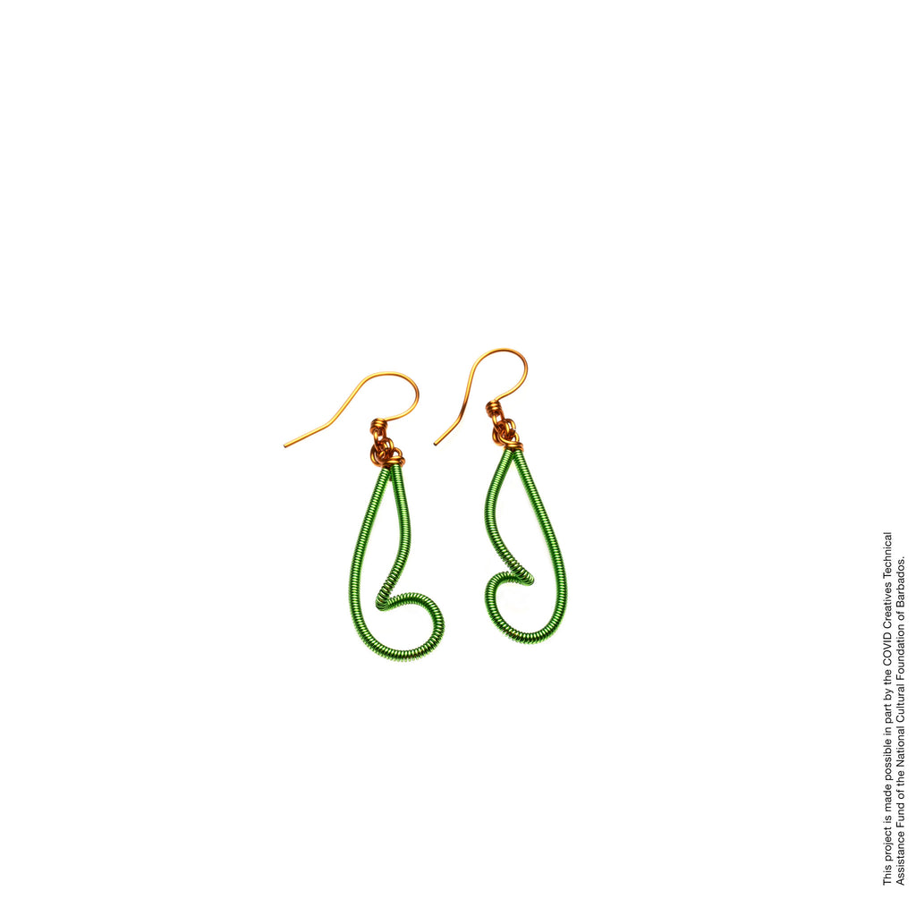 Copper Curly-Dangle Earrings Angelique Jewelry Barbados