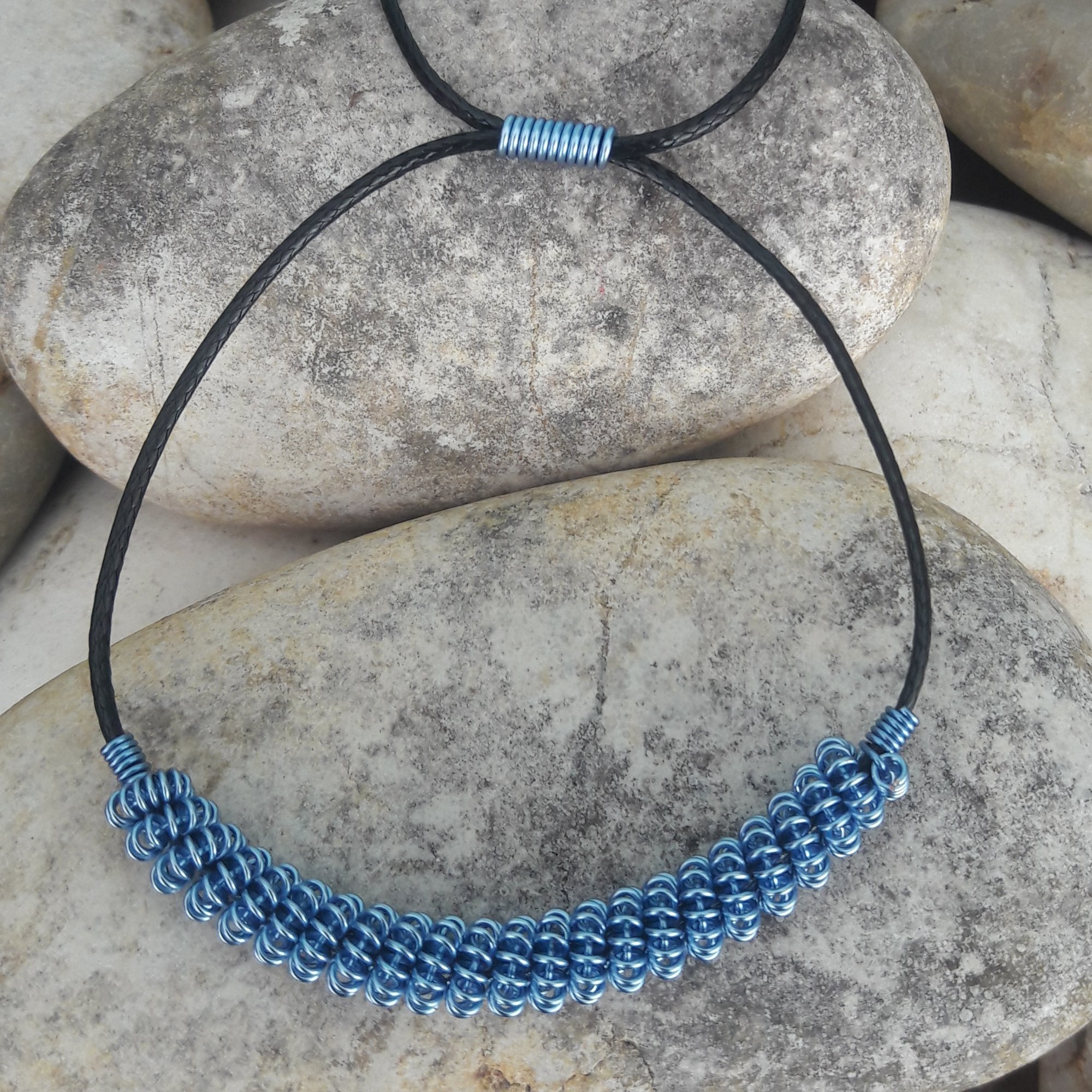 Drawstring Choker Blue Necklace Angelique Jewelry Barbados