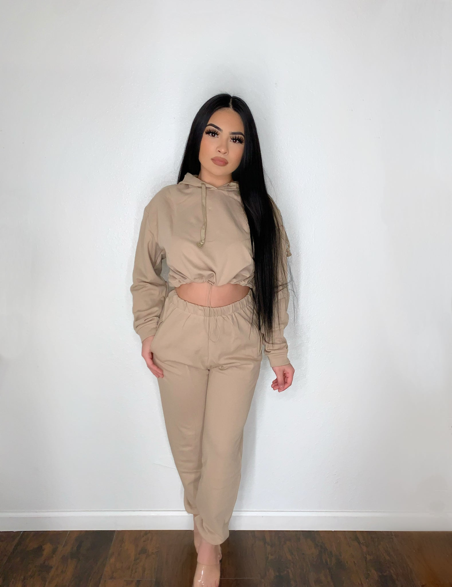 Taupe drizzy  two piece set