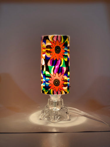 Flower Pattern Glass Fragrance Oil Electric Diffuser Lamp