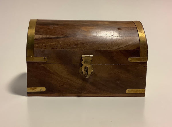 Large Wood Treasure Chest Jewelry Trinket Box
