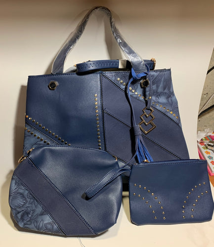 Decorative Navy Blue Handbag Set - 3 Piece