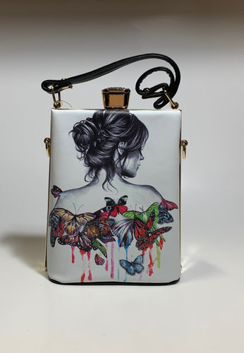 Butterfly Print Art Deco Petite Tote Handbag Purse