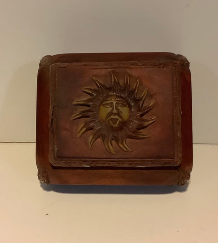 Square Small Wood Jewelry Trinket Box with Carved Sun Design