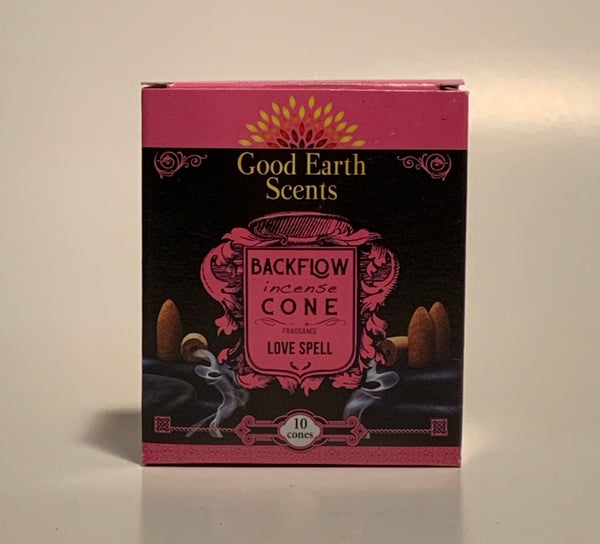 Love Spell Good Earth Scents Backflow Incense Cones