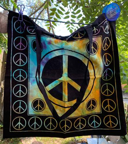 Peace Sign Cotton Tote Shoulder Bag