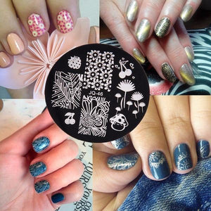 Tampons à Ongles + 10pcs Nail Art Pochoirs + Estampage