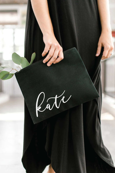 Personalized Zip Clutch - Black 1