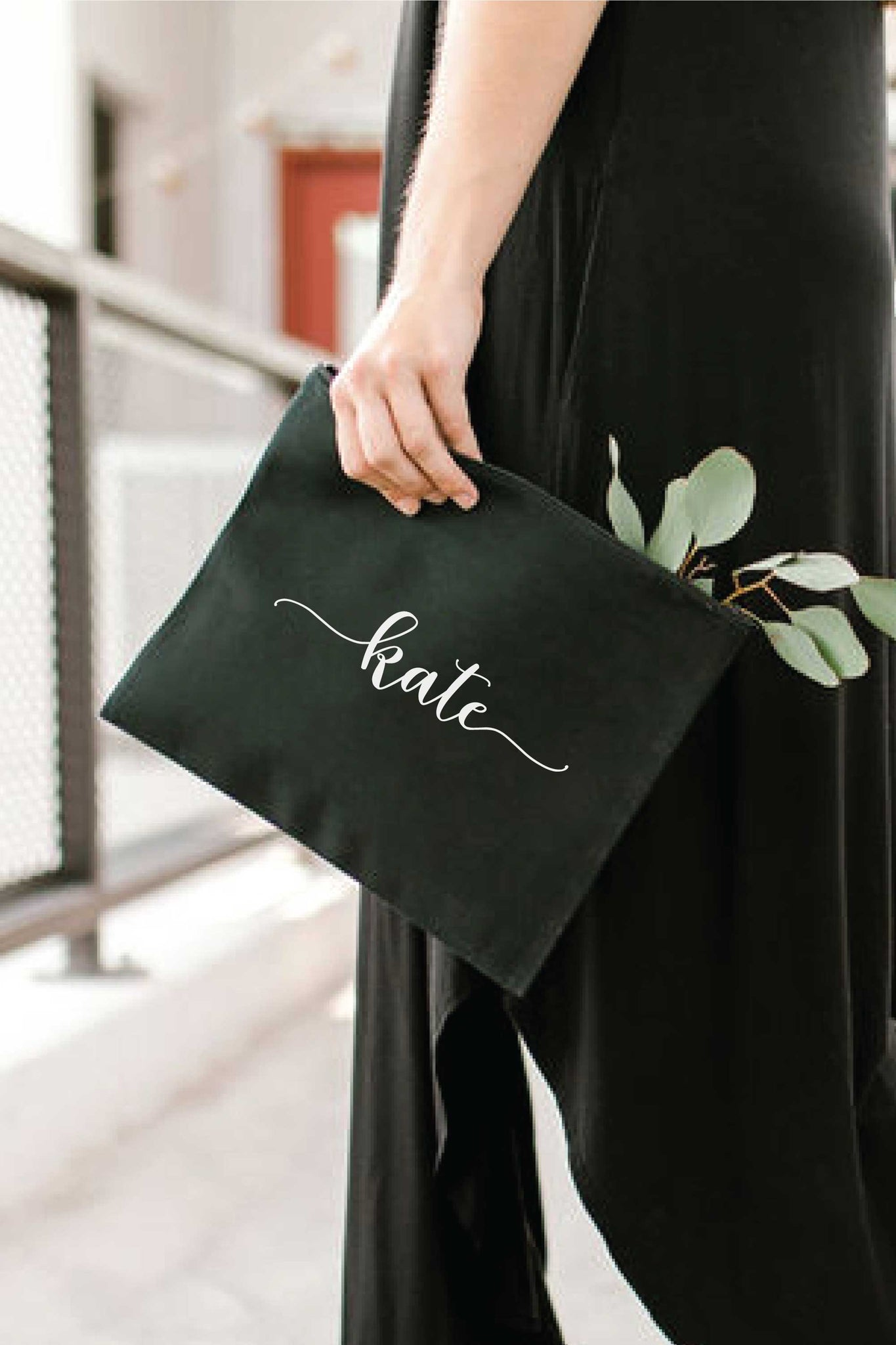 Personalized Zip Clutch - Black 2