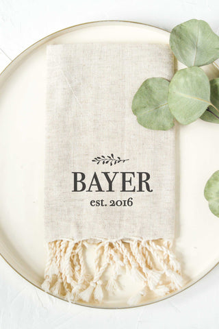 Personalized Tea Towel - Tan 3