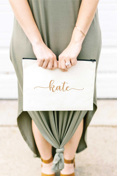 Personalized Zip Clutch - Tan 2