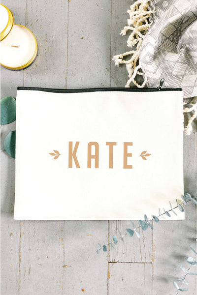 Personalized Zip Clutch - Tan 4