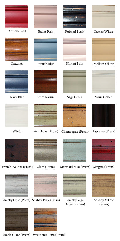 Cottage Furniture Standard and Premium Finishes