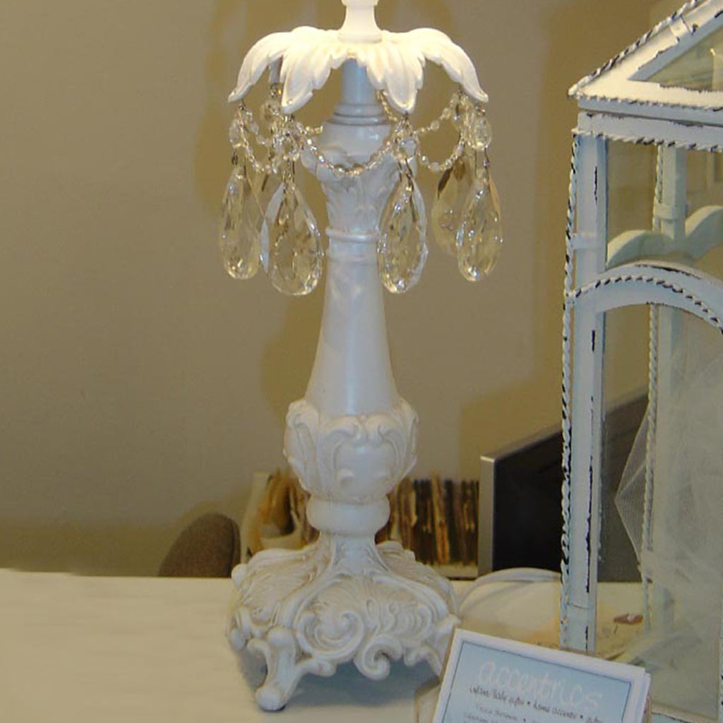 Shabby Chic Lamp with Hanging Crystals