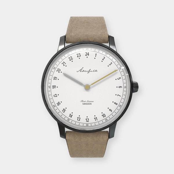 24-hour watch with matte black case and light brown mocha strap
