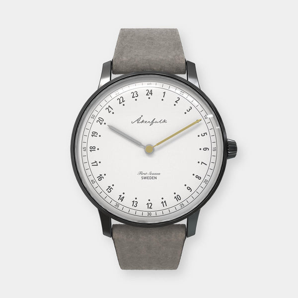 24-hour watch with matte black case and grey mocha strap