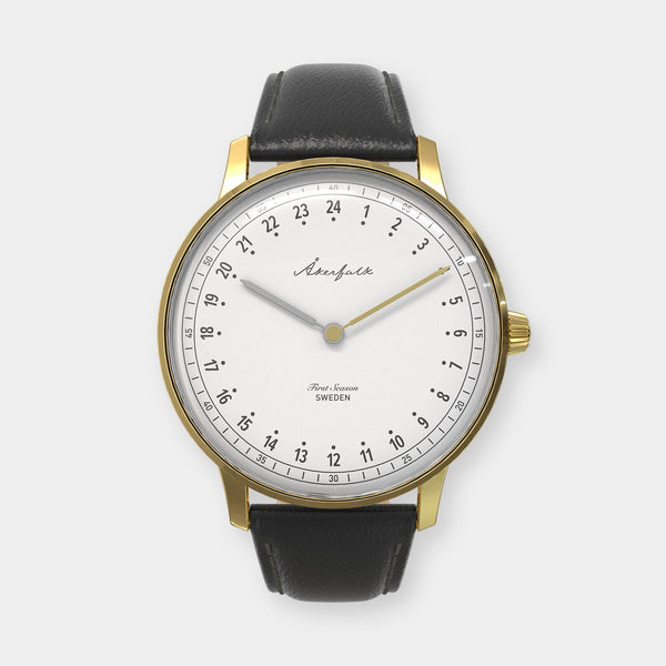 24-hour watch with gold case and black leather strap
