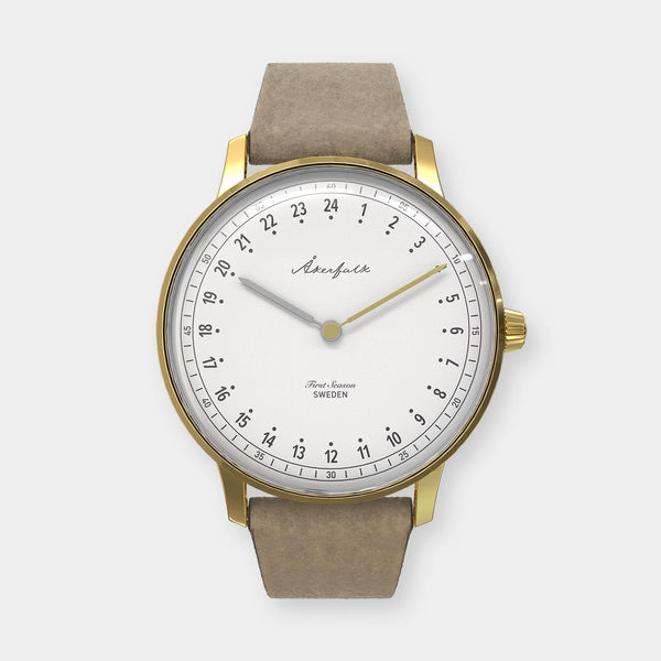 24-hour watch with gold case and light brown mocha strap