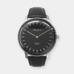 24-hour watch with silver case and black leather strap