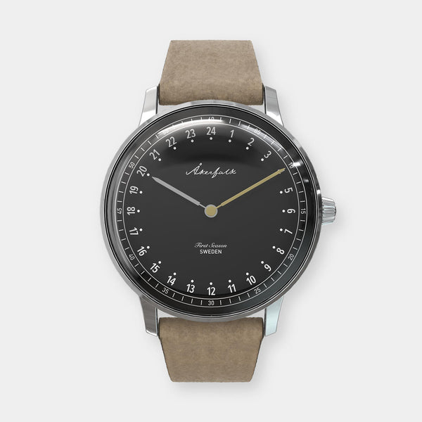 24-hour watch with silver case and light brown mocha strap