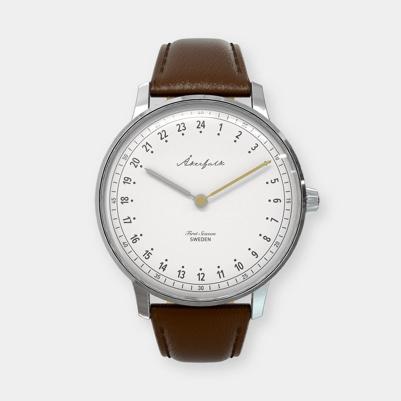 24-hour watch with silver case and brown leather strap