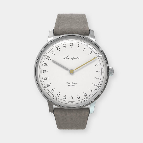 24-hour watch with silver case and grey mocha strap