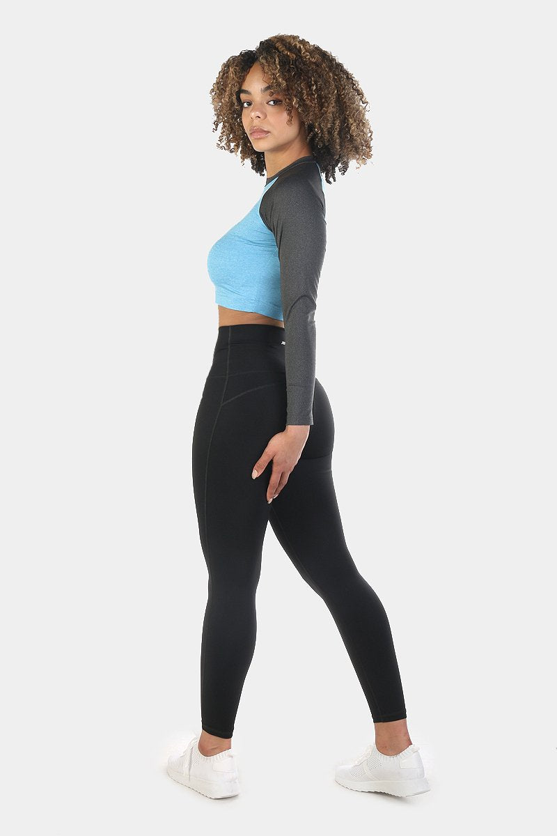 Rhythm Fitted Long Sleeve Crop Top - Blue