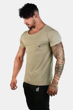Empire Loose Fitted Drop Tail T-Shirt - Khaki