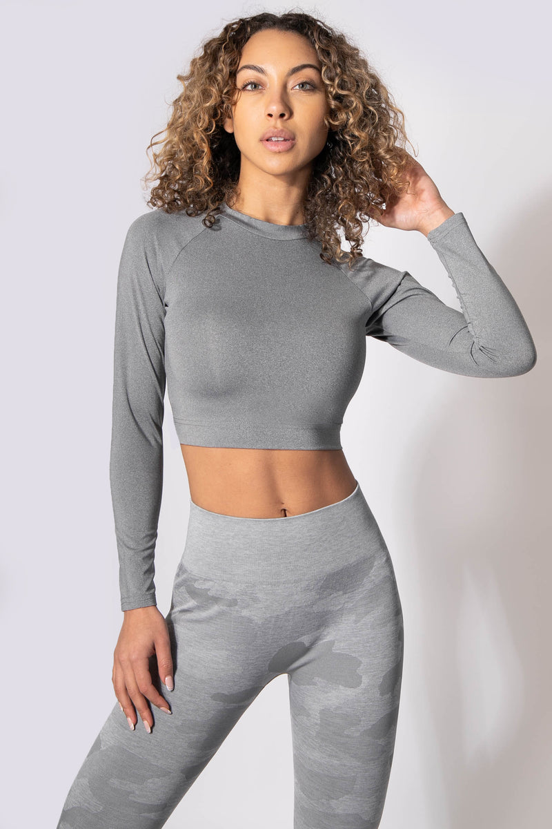 Rhythm Fitted Long Sleeve Crop Top - Light Gray