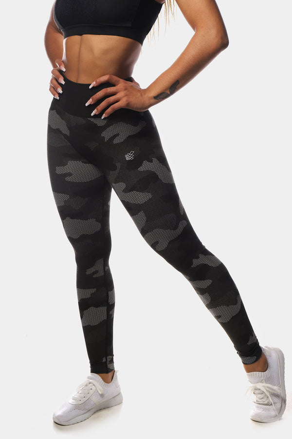 Flora Seamless Leggings - Gray Camo