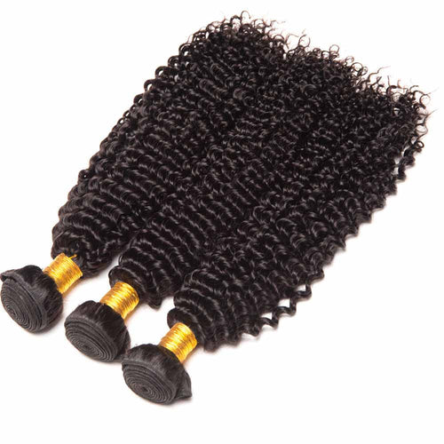 1 Bunldes 8A Brazilian Curly Human Hair Natural Black Weave Hair Extensions