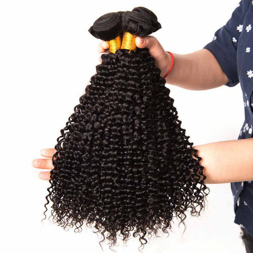 8A Brazilian Curly Human Hair 3 Bundles Natural Black Weave Hair Extensions