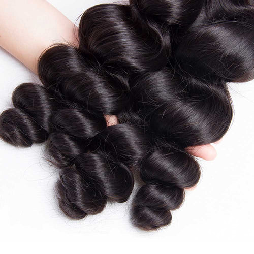 Wavy Bundles Brazilian Loose Wave Human Hair Bundles Natural Black Hair Extensions