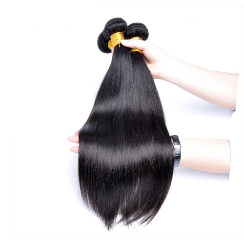 Thick Brazilian Straight Human Hair Bundles Silky Natural Black Hair Extensions 100g