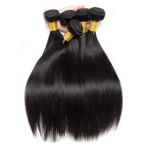 3 Bunldes 8A Brazilian Straight Human Hair Natural Black Weave Hair Extensions