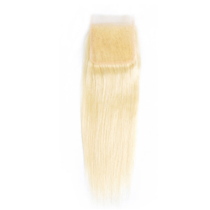 4*4 Closure Brazilian Straight 100% Human Hair Lace Closure #613 Blonde Hair Extensions