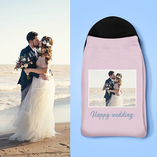 Best Gift For Lover Custom Photo And Carving Wedding Socks