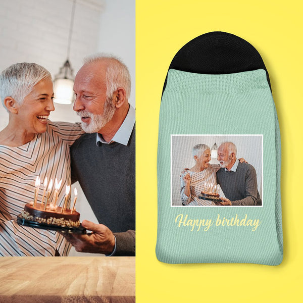 Best Gift For Family Custom Photo And Carving Birthday Socks
