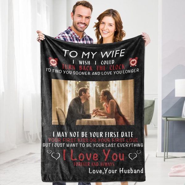 Personalized Custom To My Wife Blanket Valentine's Blanket Fleece Blanket