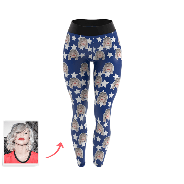 Women's Custom Face Leggings - Star