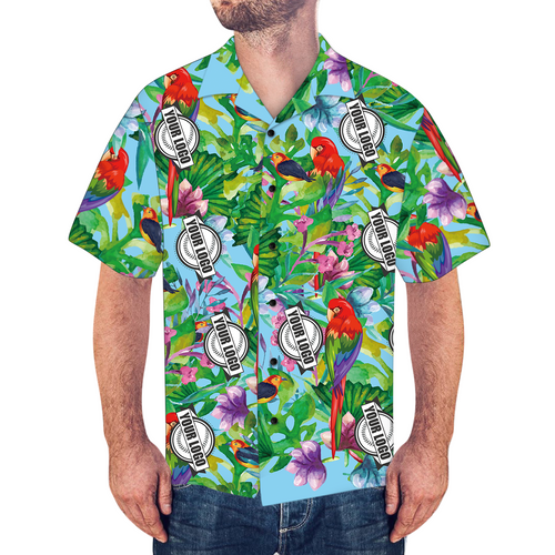 Custom Logo Shirt Men's Hawaiian Shirt Colorful Parrot