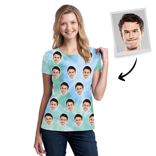 Custom Face T-Shirt All Over Print Tee Personalized Tie dye Women T-shirt