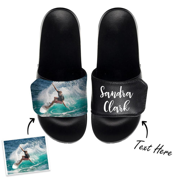 Custom Photo Slide Sandals With Text