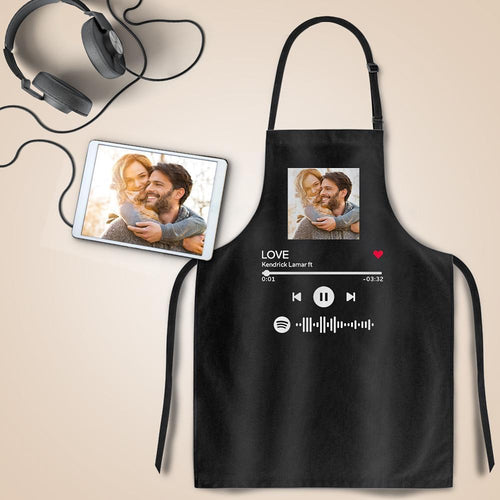Scannable Spotify Code Apron Engraved Apron Waterproof Your Favorite Song Anniversary Gifts - Black