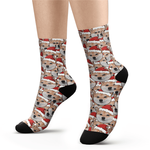 Custom Face Mash Dog Santa's hat Socks