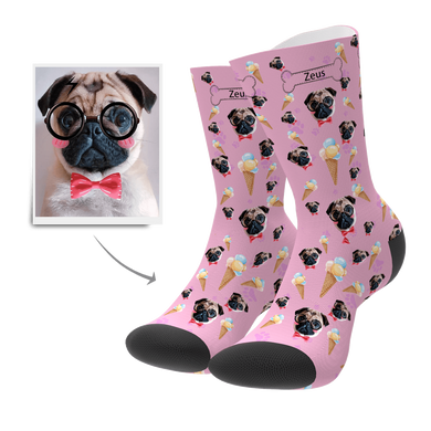 Custom Face Socks  Unique Gift Pet Dog Ice Cream