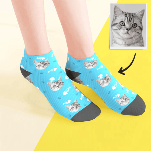 Custom Low Cut Ankle Face Socks Cat Summer Photo Pet Socks